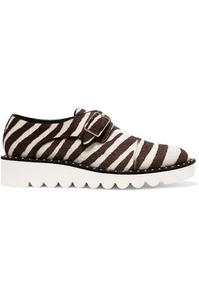 STELLA McCARTNEY Zebra-print faux calf hair brogues
