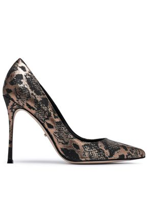 SERGIO ROSSI Godiva metallic snake-print textured-leather pumps