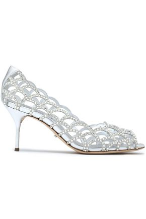 SERGIO ROSSI Crystal-embellished suede and leather pumps
