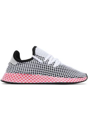 ADIDAS ORIGINALS Mesh-appliquéd stretch-knit sneakers