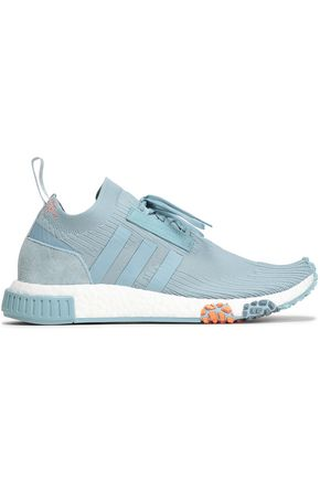 ADIDAS ORIGINALS NMD Racer suede-trimmed stretch-knit sneakers