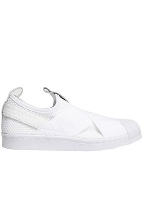 ADIDAS ORIGINALS Leather-trimmed stretch-knit slip-on sneakers