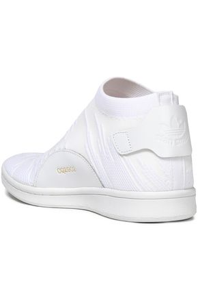 tout neuf 1ea2e 488c0 Stan Smith Sock leather-trimmed stretch-knit high-top ...