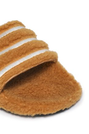 ADIDAS ORIGINALS Striped faux shearling slides