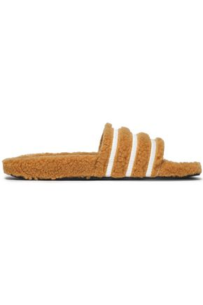 ADIDAS ORIGINALS Striped faux shearling slides