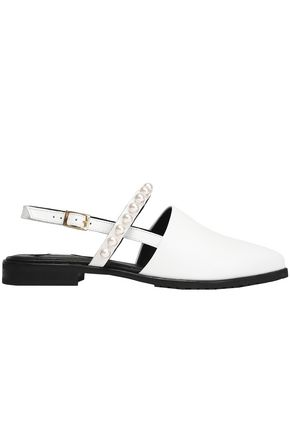 MOTHER OF PEARL Faux pearl-embellished leather point-toe flats
