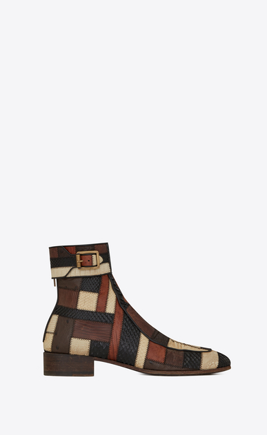 Miles boot in exotic skins patchwork