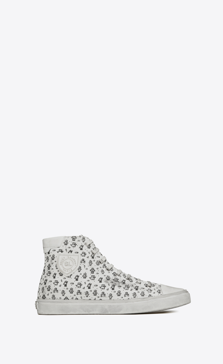 8e6609e5faac Saint Laurent Bedford Sneaker In Used Look Canvas Printed With ...