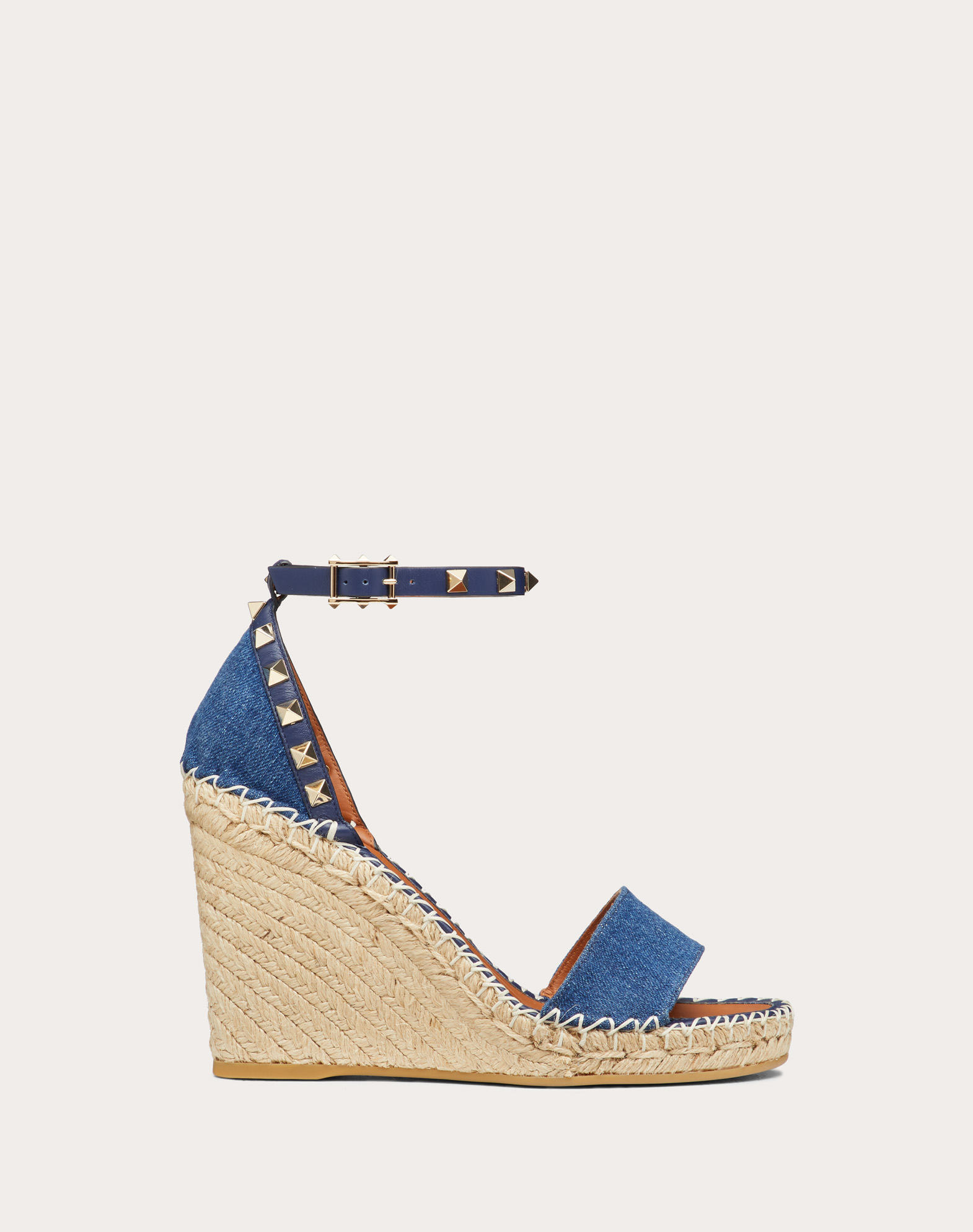 Denim Rockstud Double Wedge Sandal 95mm
