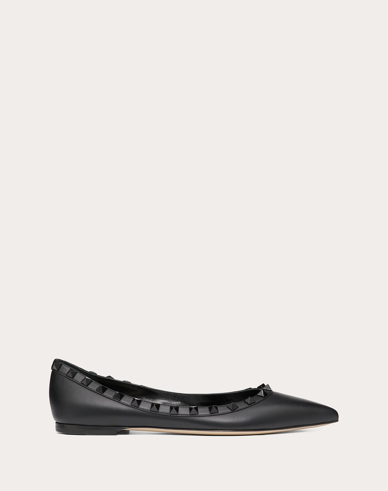 Rockstud  Calfskin Leather Ballet Flat with Tonal Studs