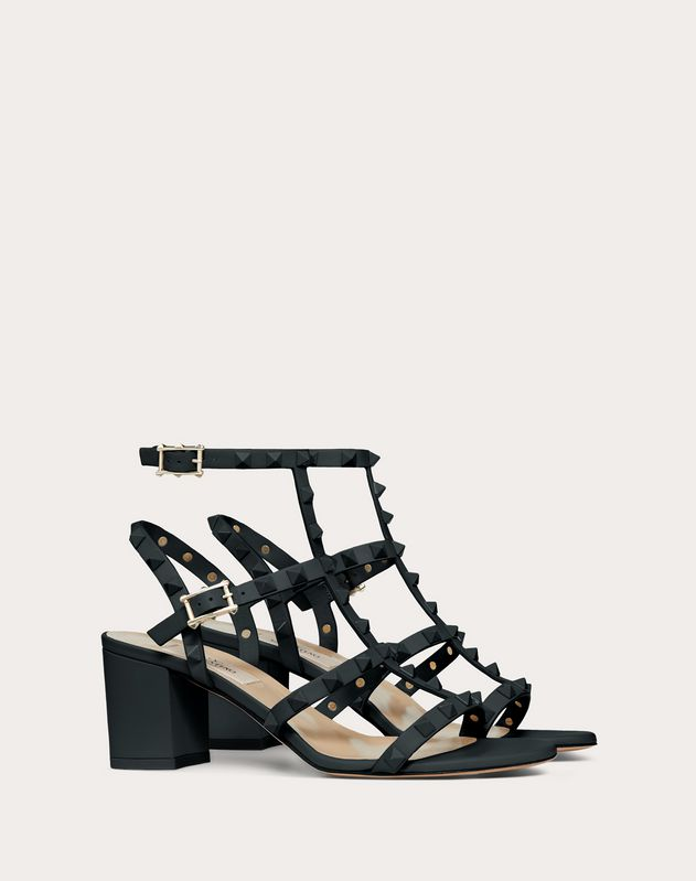 Rockstud Ankle Strap Calfskin Leather Sandal with Tonal Studs 60 mm