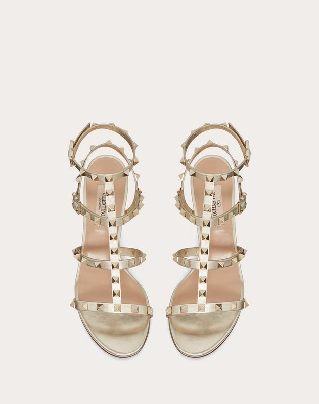 Metallic Rockstud caged Sandal 60mm