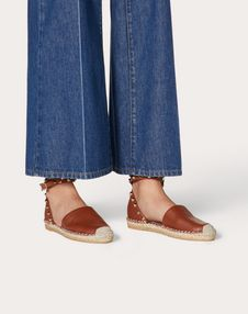 Grain Calfskin Leather Rockstud Double Flat Espadrilles