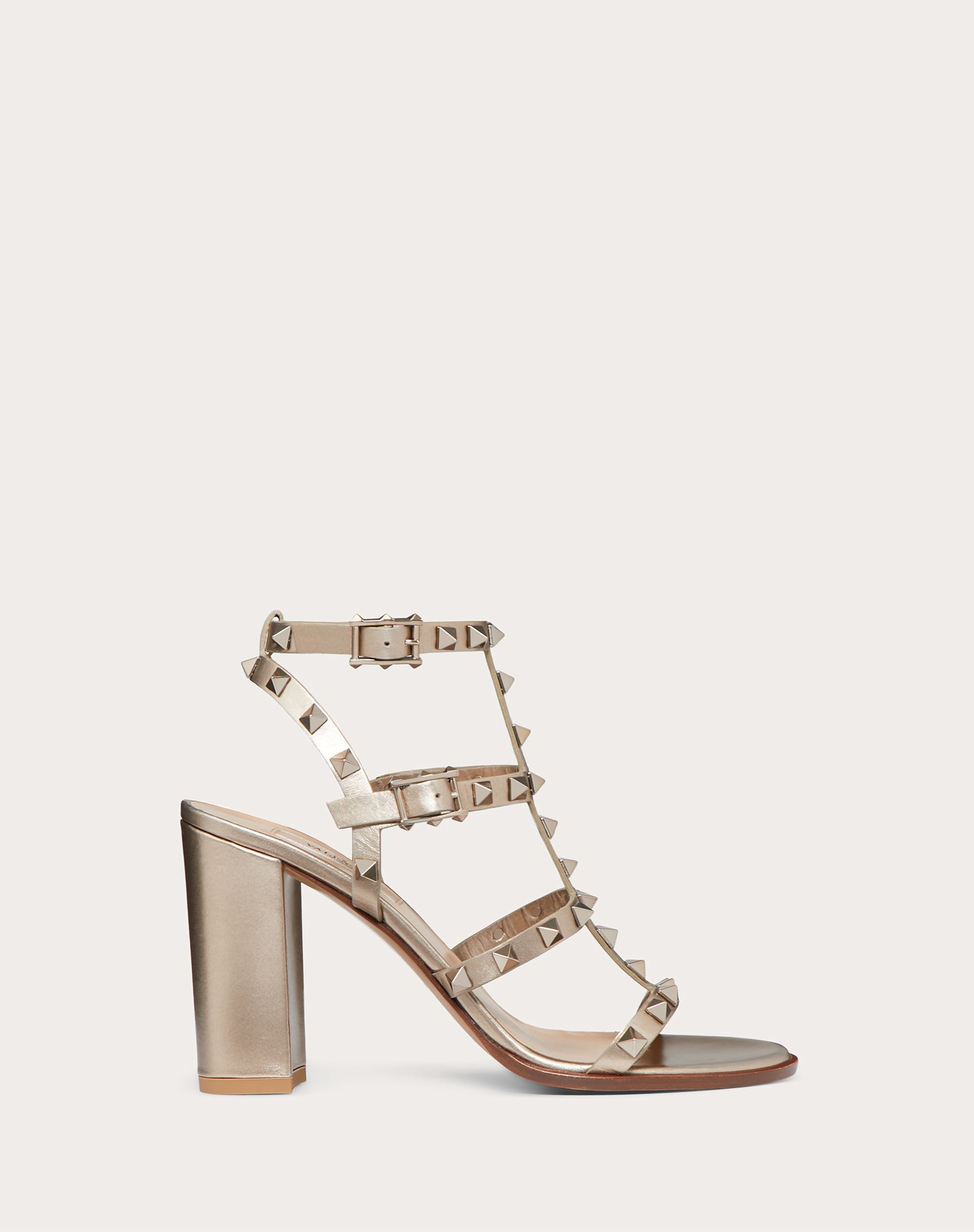 Rockstud Metallic Calfskin Leather Ankle Strap Sandal 90 mm