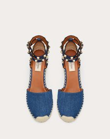 Denim Rockstud Double Wedge Espadrilles 65mm