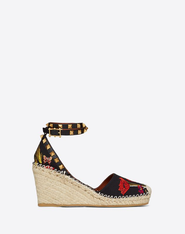 Poppy Embroidery Rockstud Double Wedge Espadrilles 65mm