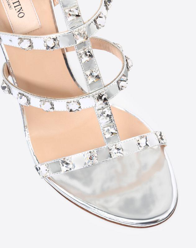Metallic Rockstud Caged Sandal with Crystal Studs 100mm