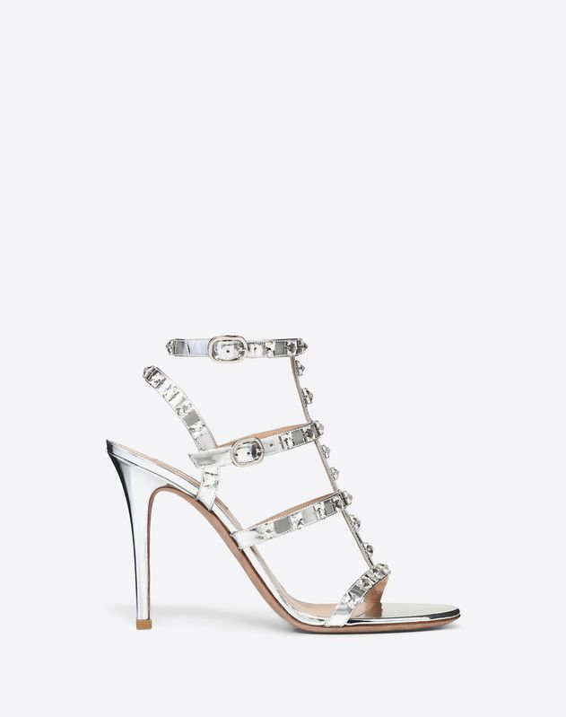 a4a3a4554 Metallic Rockstud Caged Sandal with Crystal Studs 100mm ...