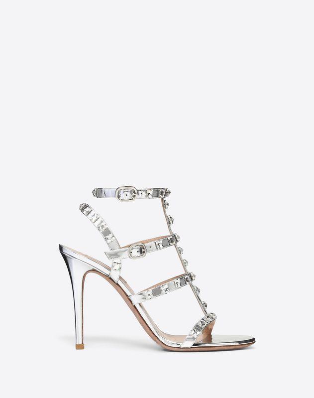1de6205cbd5 Metallic Rockstud Caged Sandal with Crystal Studs 100mm for Woman ...