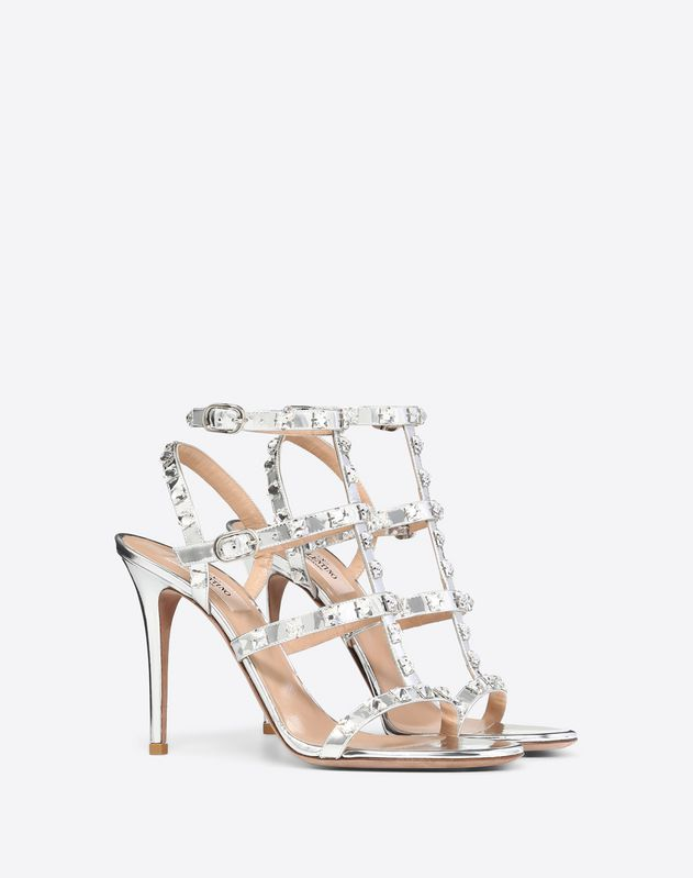 d21653e36f5 Metallic Rockstud Caged Sandal with Crystal Studs 100mm