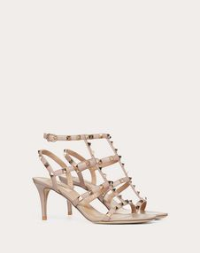 Rockstud Calfskin Ankle Strap Sandal 70 mm