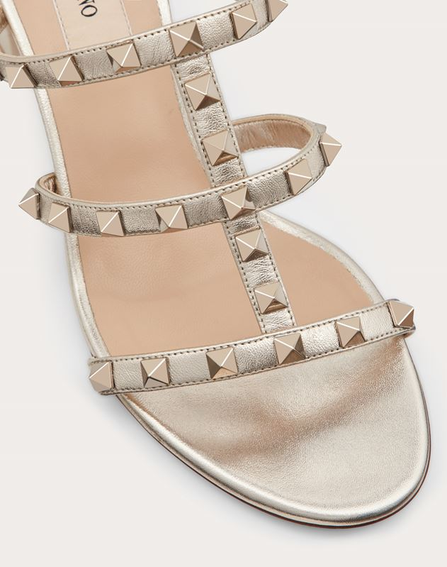 Metallic Rockstud caged slide Sandal 60mm