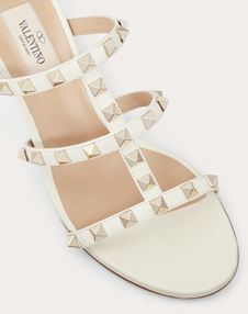 Rockstud Calfskin Leather Slide Sandal 60 mm