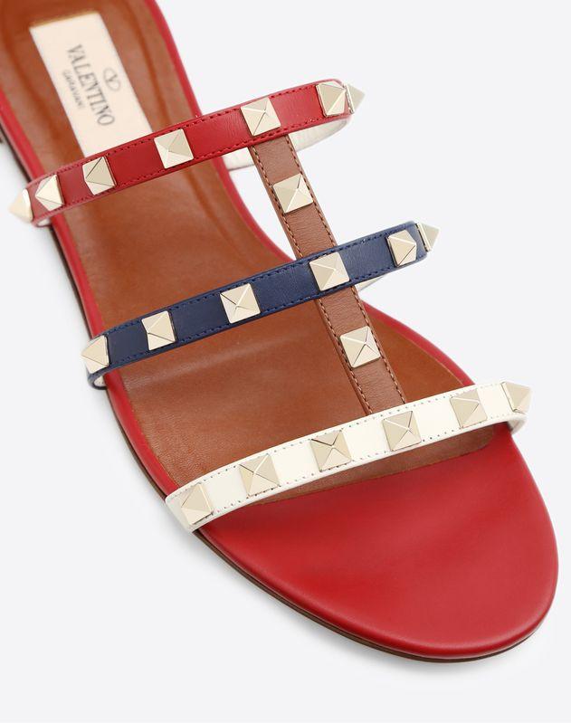 Multicolor Rockstud Caged Flat Slide Sandal