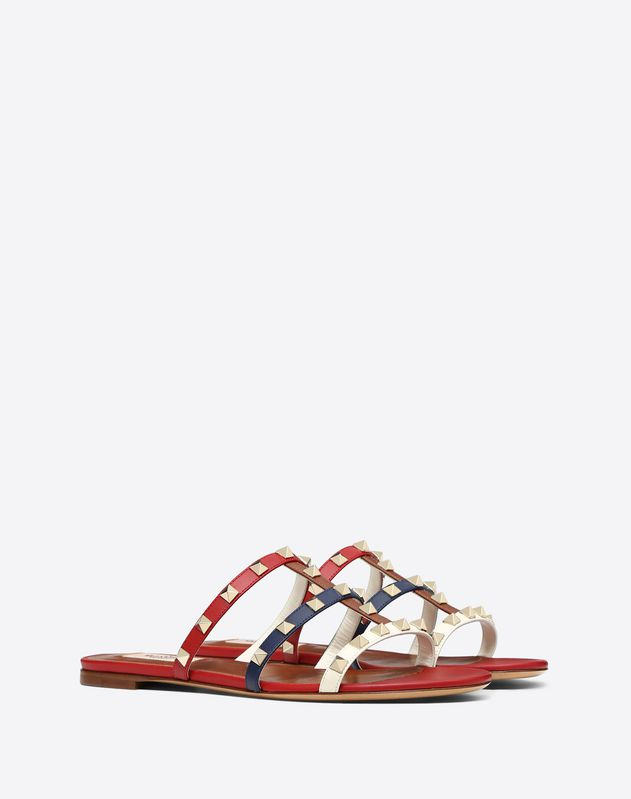 Multicolor Rockstud caged Flat Slide Sandal