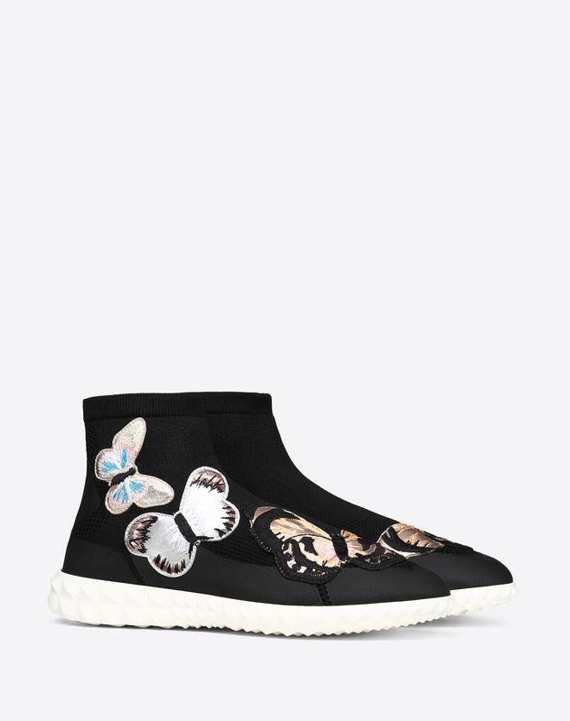 Sock sneaker with embroidered butterflies