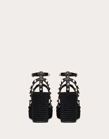 Rockstud Ankle Strap Wedge Sandal in Calfskin Leather 95 mm
