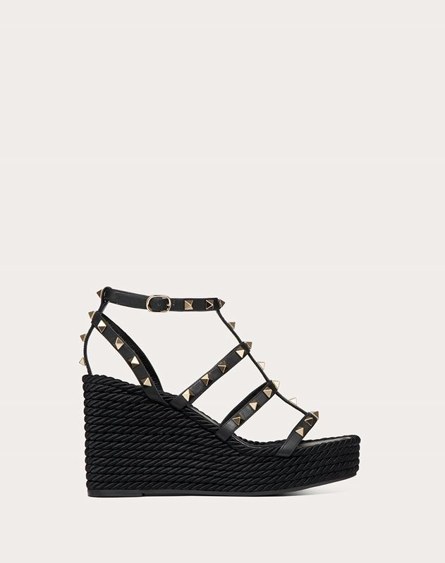 Rockstud Ankle Strap Wedge Sandal in Calfskin Leather 95 mm