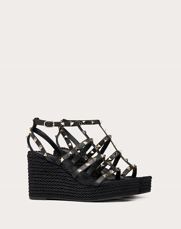 Rockstud Ankle Strap Wedge Sandal 95 mm
