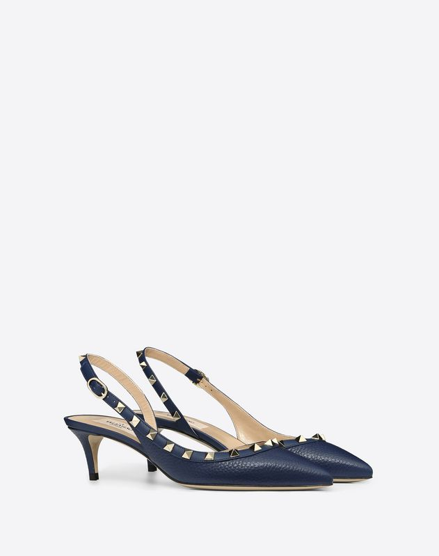 Rockstud Grainy Leather Slingback Pump 50 mm