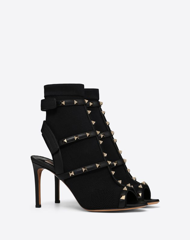 Rockstud peep-toe boot