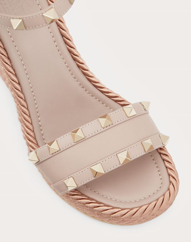 Calfskin Studded Wedge Sandal 115 mm