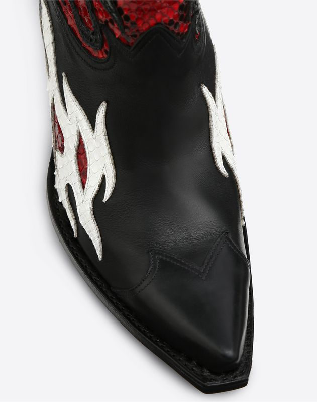 Flames Embroidery Texan Bootie 95mm
