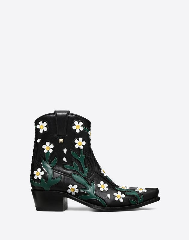 9aa440b6983 Flowers embroidery Texan Bootie 40mm ...