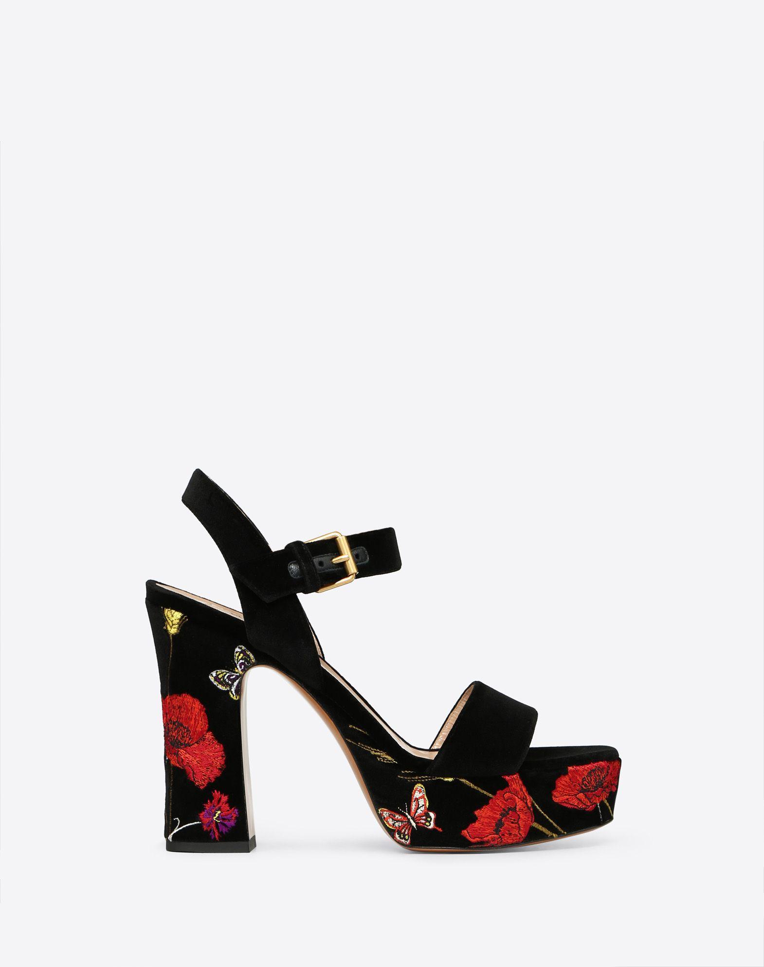 Poppy Embroidery Platform Sandal 115mm