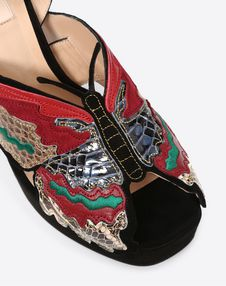 Butterfly Embroidery Platform Sandal 115mm
