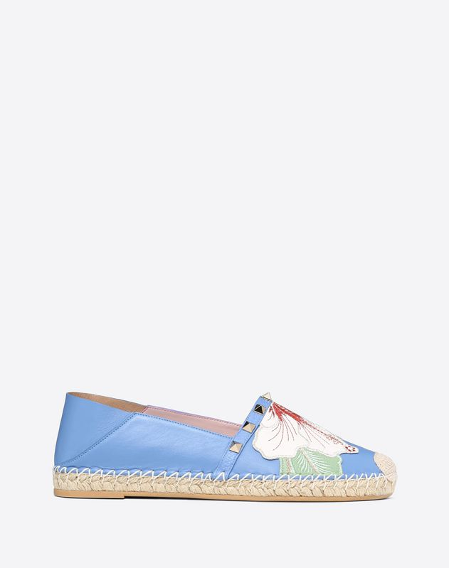Hibiscus Embroidery Rockstud Double Espadrilles