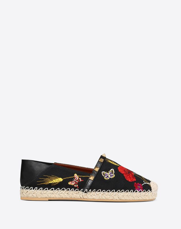 Poppy Embroidery Rockstud Double Espadrilles