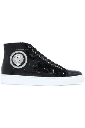 VERSUS VERSACE Embellished croc-effect patent-leather high-top sneakers