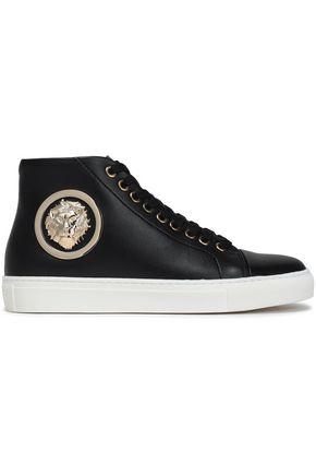 VERSUS VERSACE Embellished leather high-top sneakers