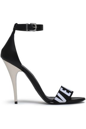 VERSUS VERSACE Leather and printed stretch-knit sandals