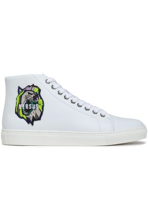 VERSUS VERSACE Appliquéd leather high-top sneakers