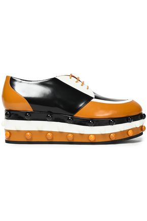 MISSONI Color-block leather platform brogues