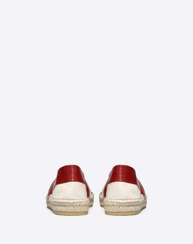 FABRIC AND CALFSKIN ESPADRILLE