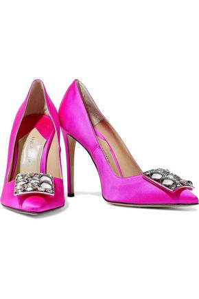 PAUL ANDREW Otto crystal-embellished satin pumps