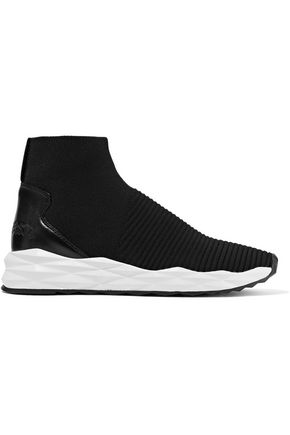 ASH Spot leather-paneled knitted sneakers